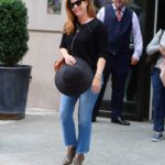 Amy Adams in a Black Blouse Leaves Her Hotel in New York City
