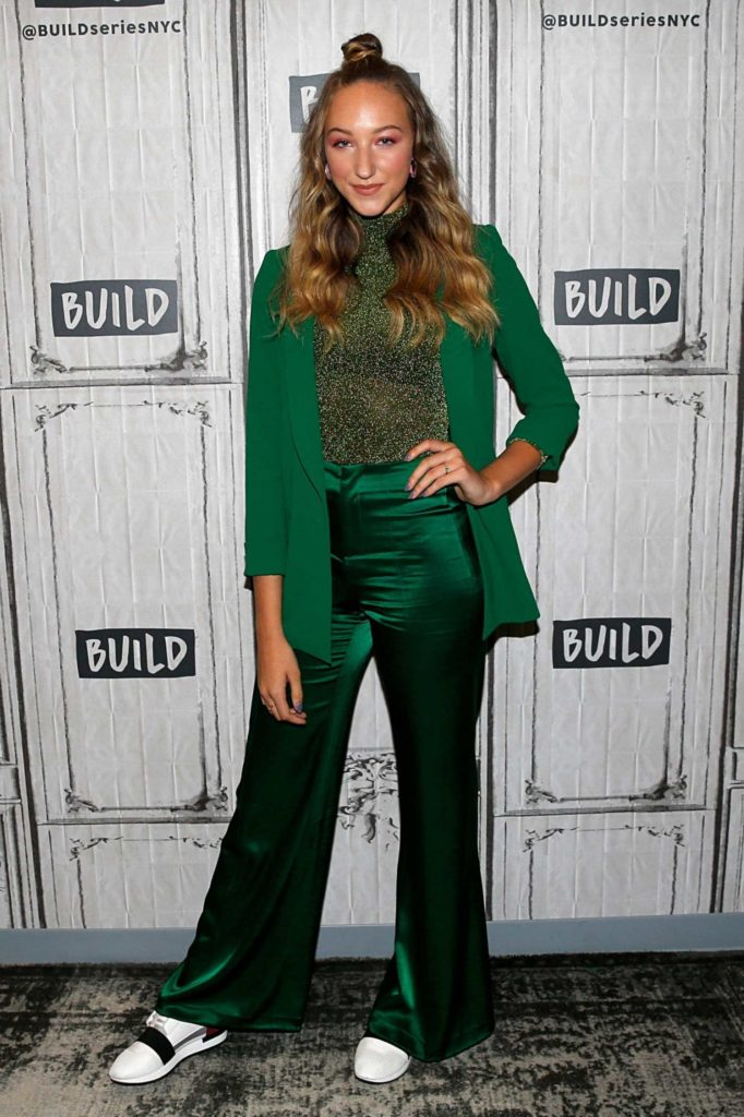 Ava Michelle in a Green Suit