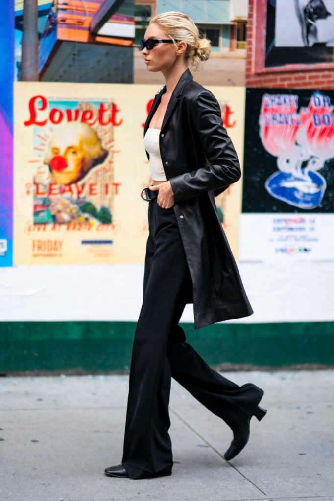 Elsa Hosk in a Black Trench Coat