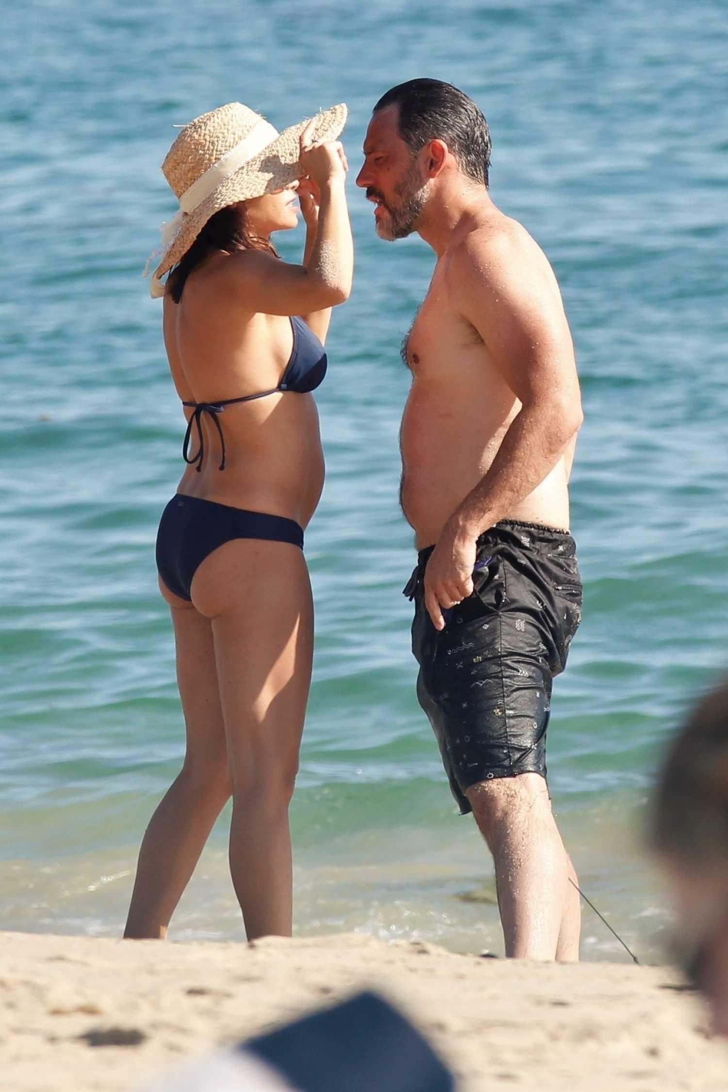 Jenna Dewan In A Blue Bikini On The Beach In Laguna Beach