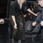 Karlie Kloss in a Black Blouse Arrives at Her Hotel in Paris