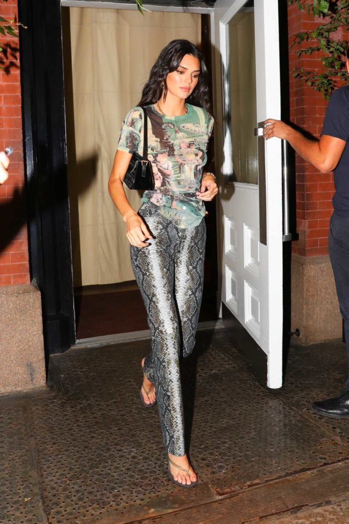 Kendall Jenner in a Silver Snakeskin Pants