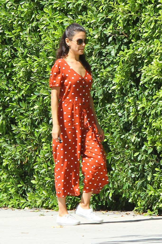 Mila Kunis in a Red Polka Dot Jumpsuit