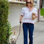 Natalie Portman in a White Blouse Walks Her Dog in Los Feliz
