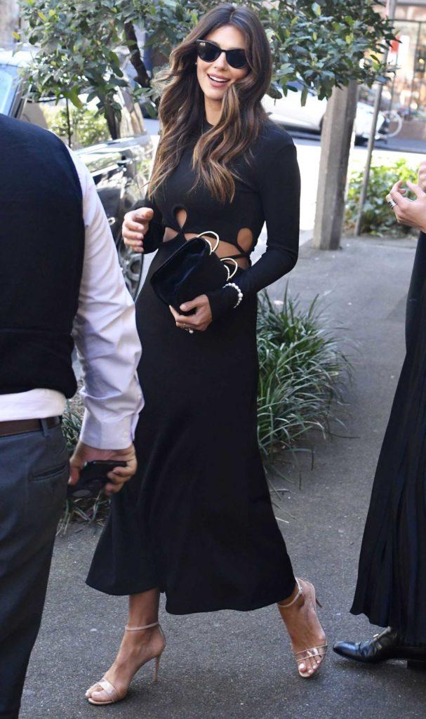 Pia Miller in a Black Dress