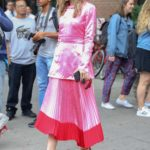 Suki Waterhouse in a Pink Blouse Was Seen Out in New York