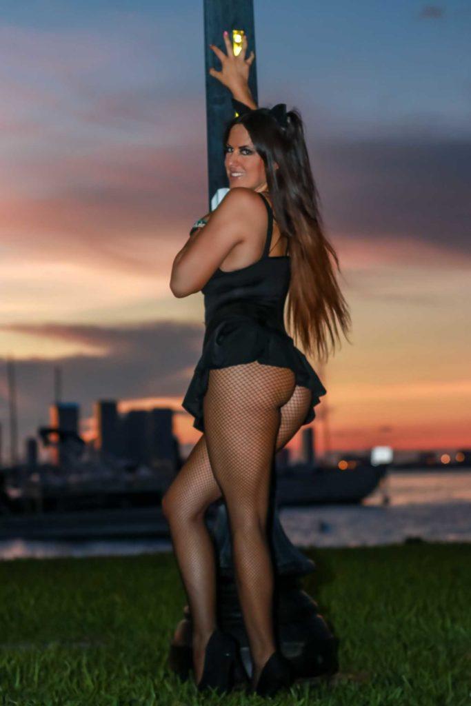 Claudia Romani in a Black Swimsuit