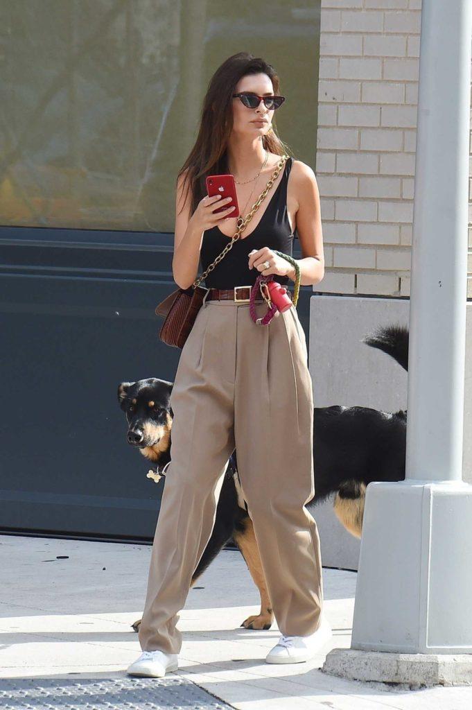 Emily Ratajkowski in a Beige Pants