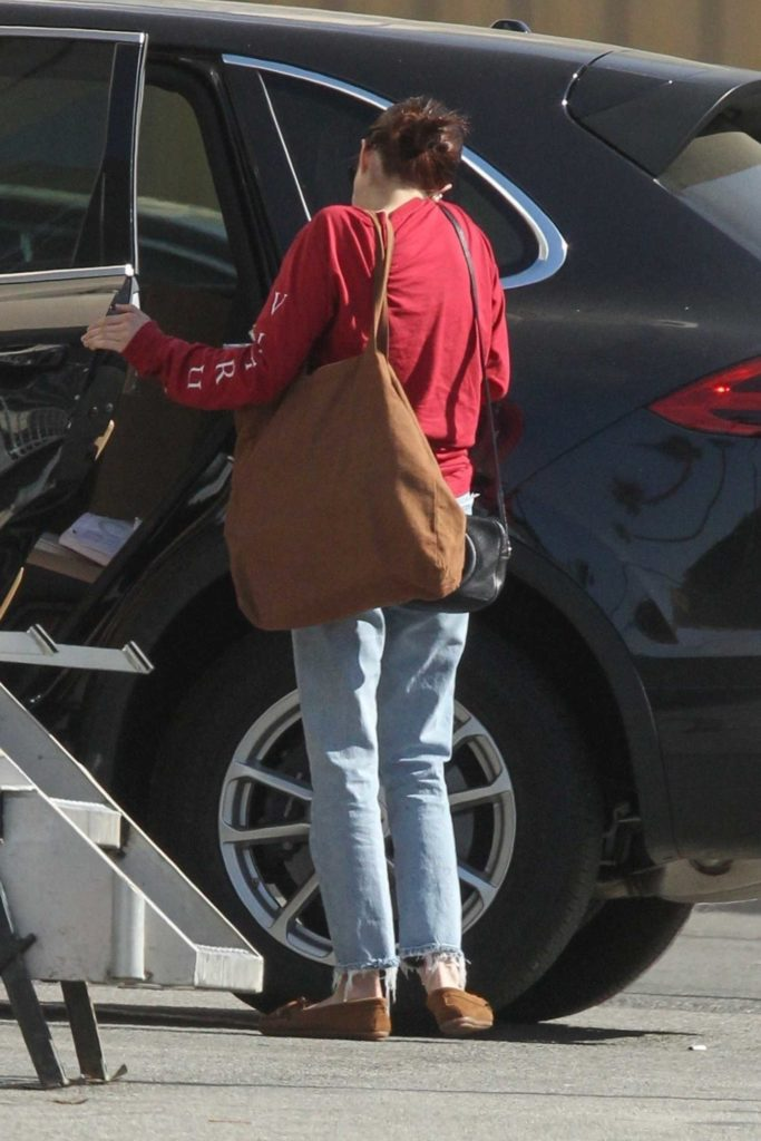 Emma Roberts in a Red Sweatshirt