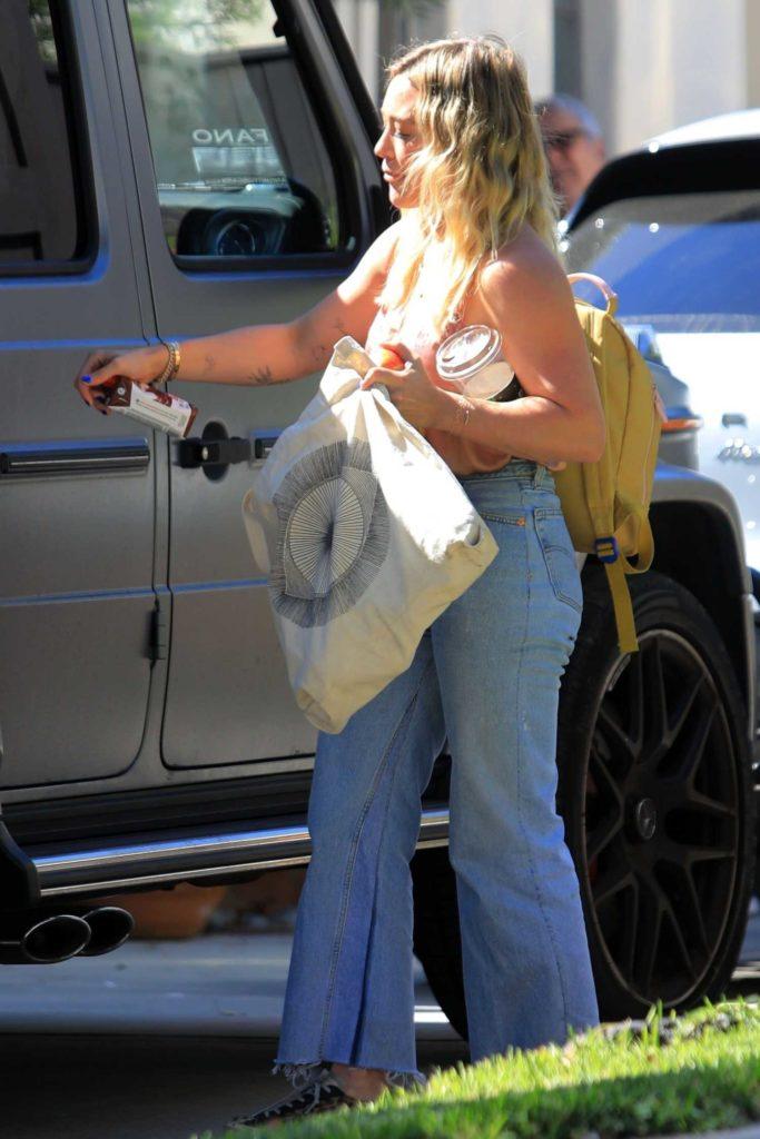 Hilary Duff in a Beige Top