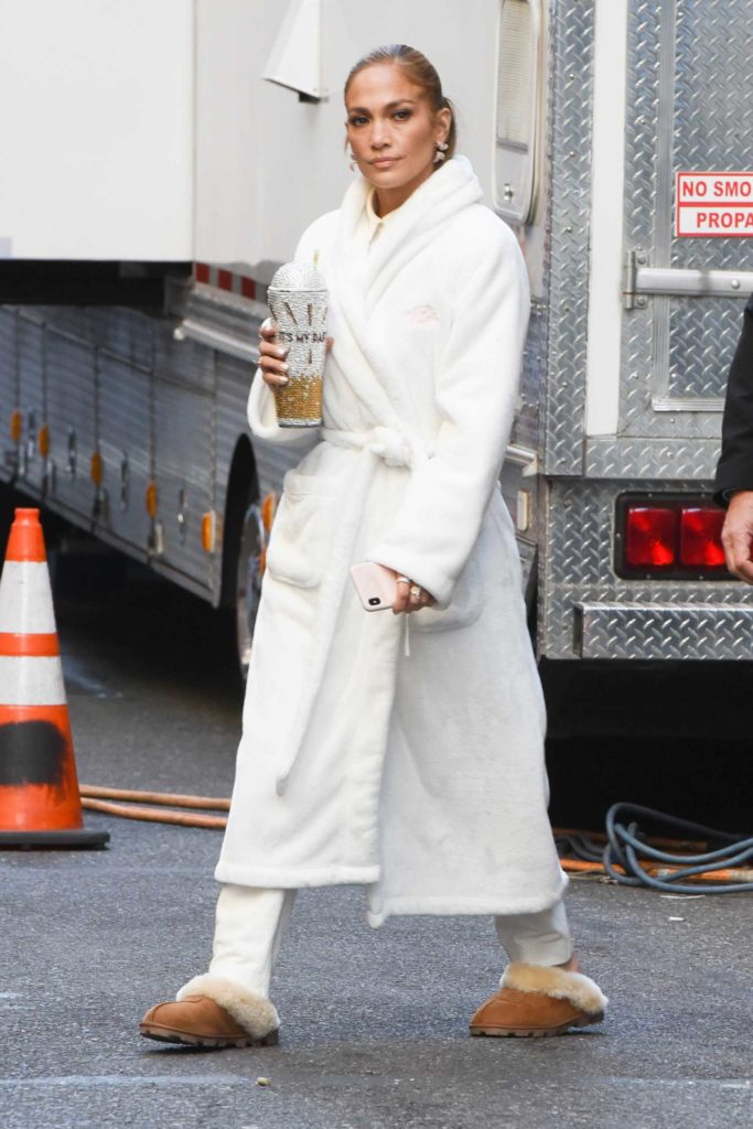 Jennifer Lopez in a White Bathrobe