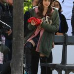 Lily Collins in a Green Jacket on the Set of the Emily in Paris TV Show in Paris