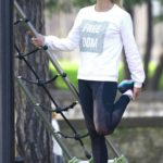 Michelle Hunziker in a Gray Cap Was Seen at a Park in Bergamo
