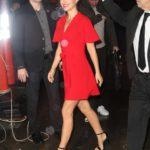 Natalie Portman in a Red Dress Leaves Good Morning America in New York