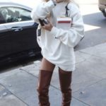 Pia Mia in a White Sweatshirt Goes Shopping on Melrose Place in West Hollywood