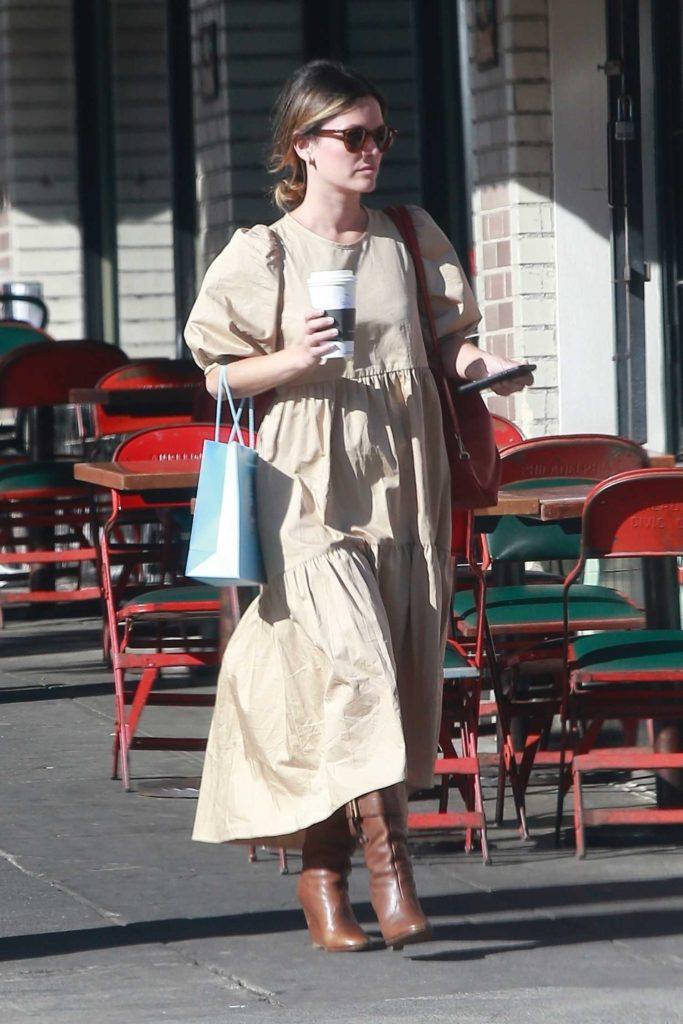 Rachel Bilson in a Beige Dress