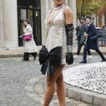Rita Ora in a Beige Dress Arrives at Miu Miu Fashion Show During 2019 Paris Fashion Week in Paris