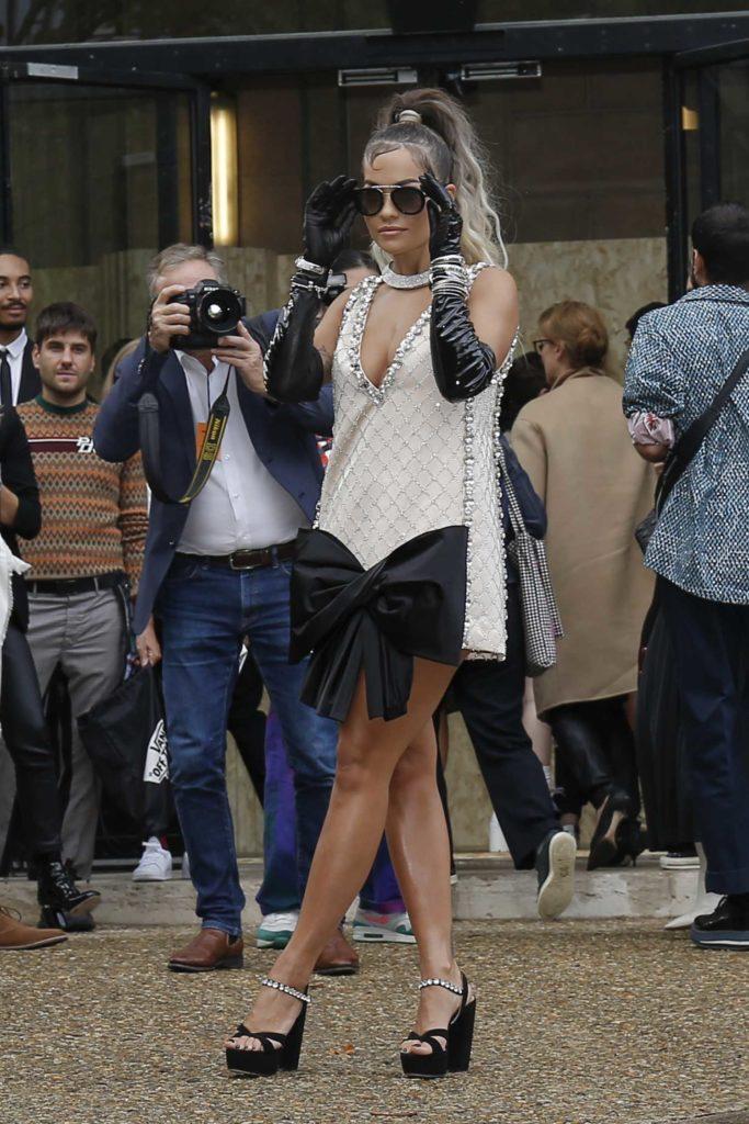 Rita Ora in a Beige Dress