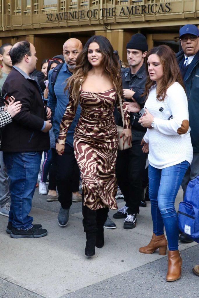 Selena Gomez in a Patterned Dress