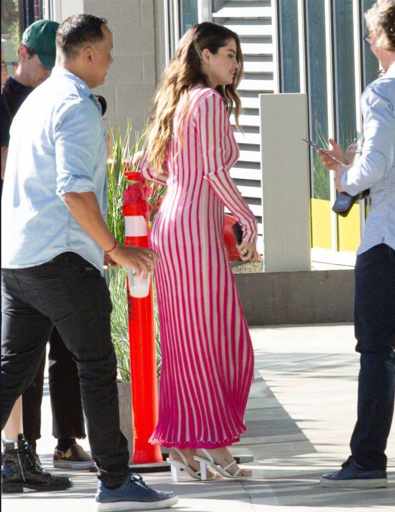 Selena Gomez in a Striped Dress