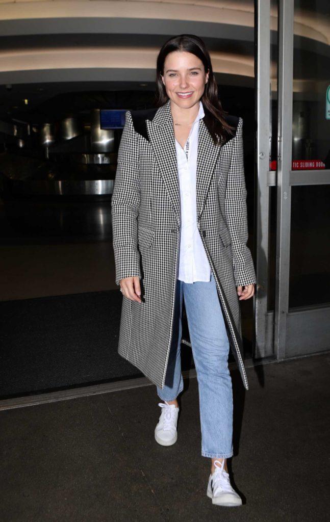Sophia Bush in a Gray Coat