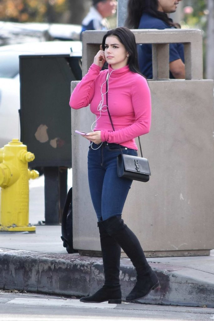 Ariel Winter in a Pink Turtleneck