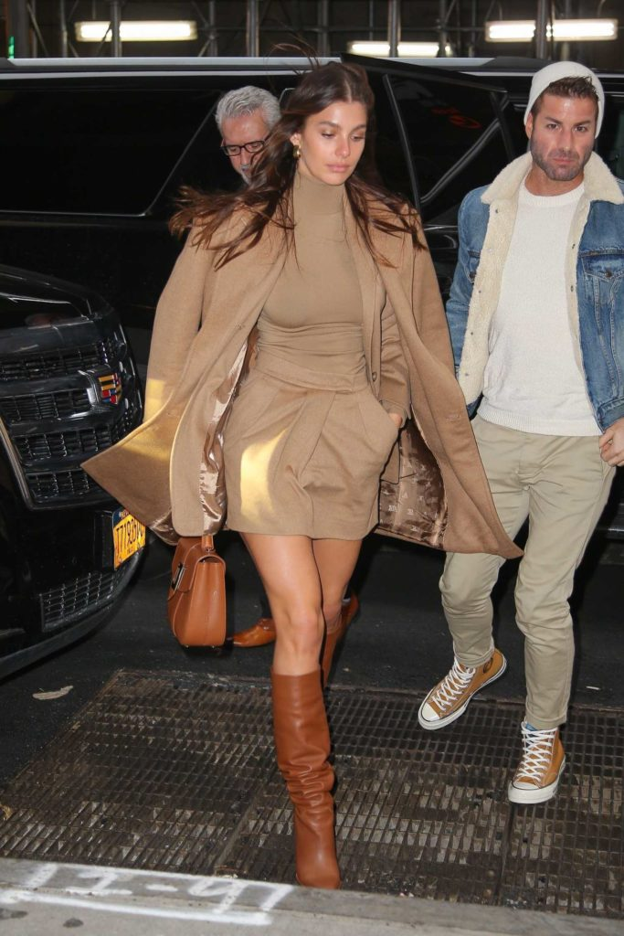 Camila Morrone in a Beige Coat