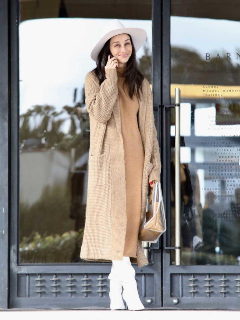 Cara Santana in a Beige Coat