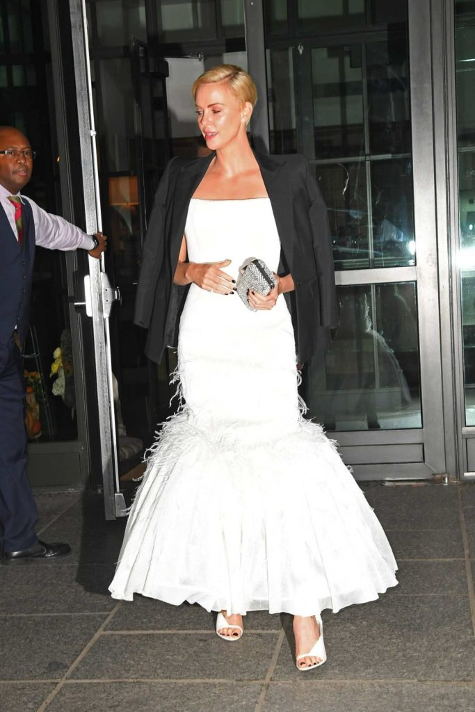 Charlize Theron in a White Dress