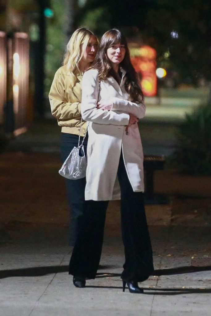 Dakota Johnson in a White Coat