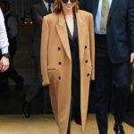 Emilia Clarke in a Beige Coat Was Seen Out in New York