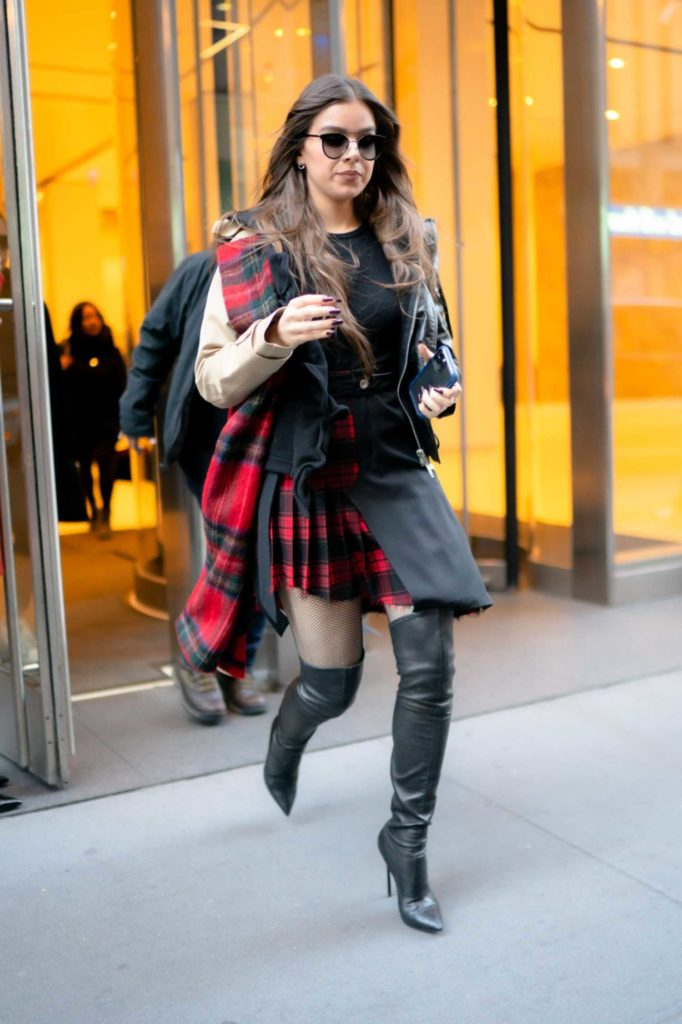 Hailee Steinfeld in a Plaid Skirt