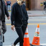 Jennifer Lopez in a Black Sweatshirt Arrives at the Set of Marry Me in New York