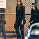 Mandy Moore in a Black Suit Arrives at Jimmy Kimmel Live in LA