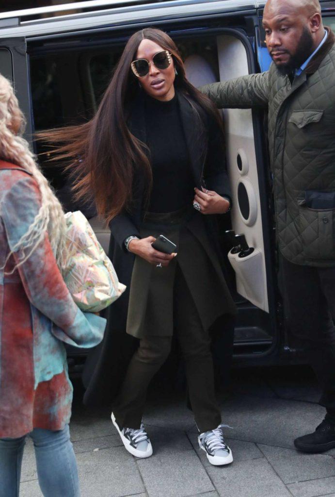 Naomi Campbell in a Black Coat