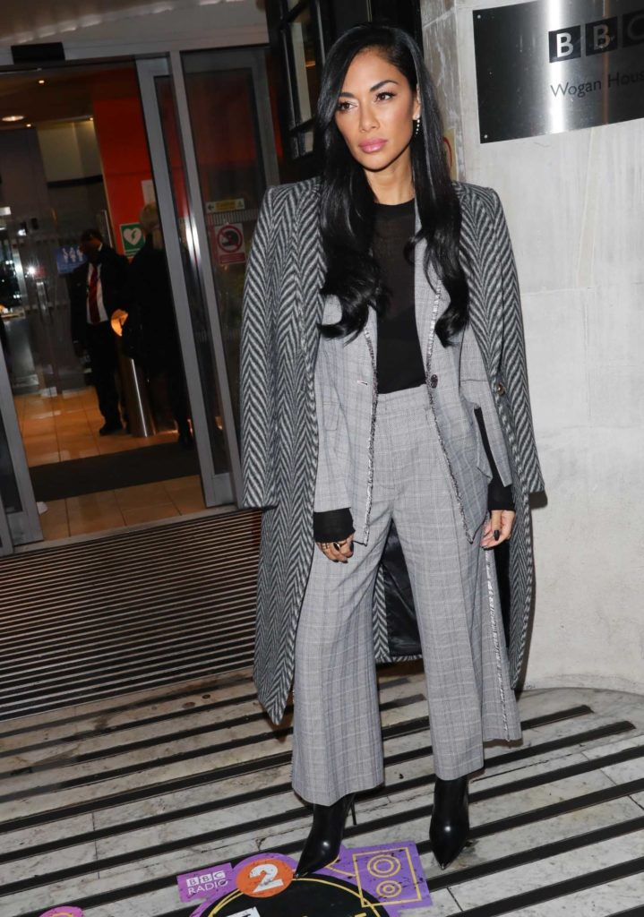 Nicole Scherzinger in a Gray Coat