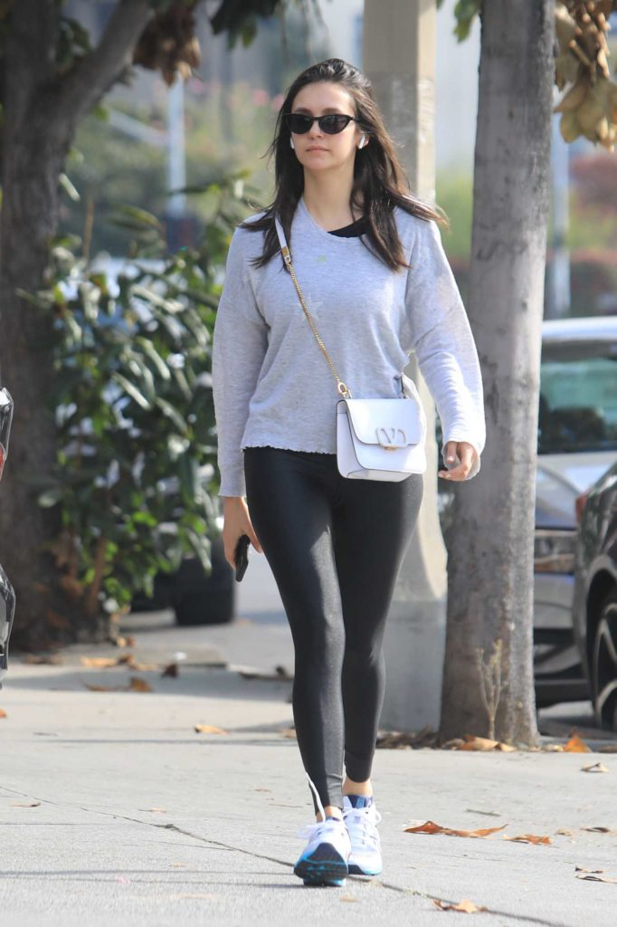 Nina Dobrev in Gray Long Sleeves T-Shirt