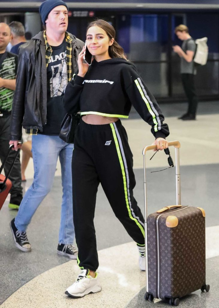 Olivia Culpo in a Black Jogging Suit