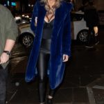 Rhian Sugden in a Blue Fur Coat Arrives at the Mirror Image Fashion Event at Impossible Club in Manchester