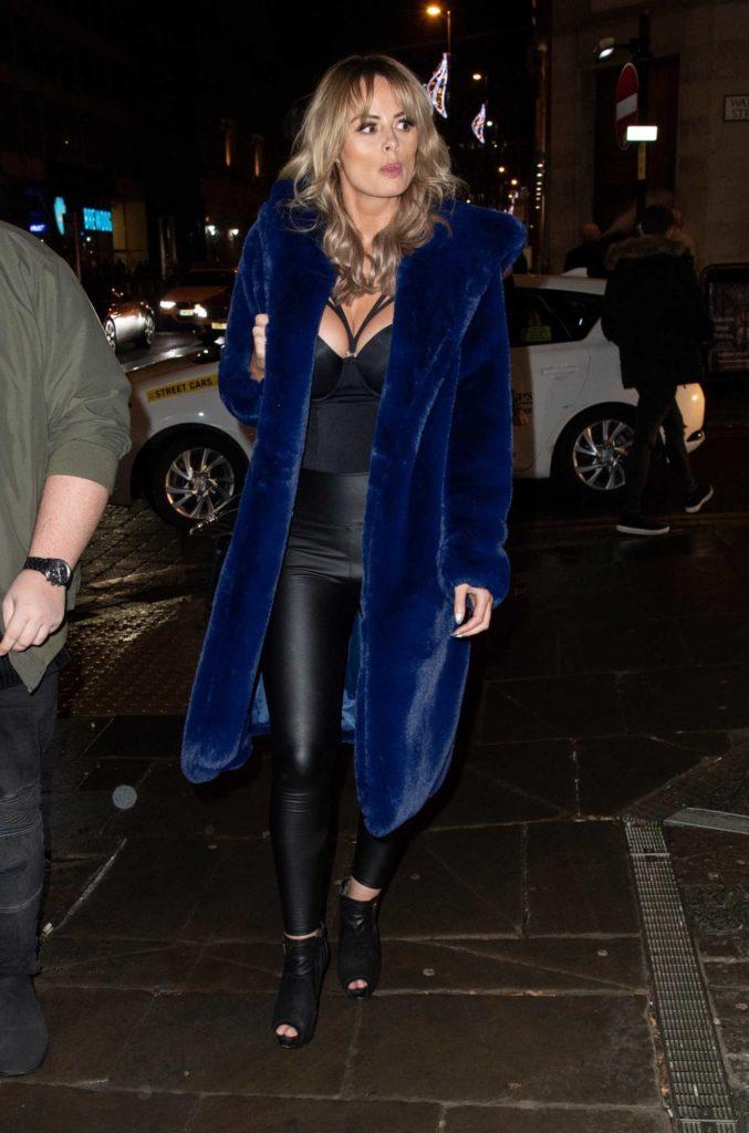 Rhian Sugden in a Blue Fur Coat
