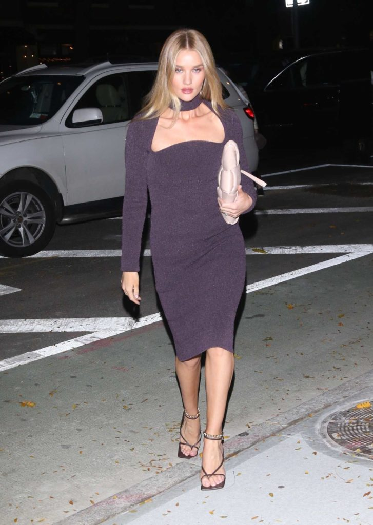 Rosie Huntington-Whiteley in a Purple Dress
