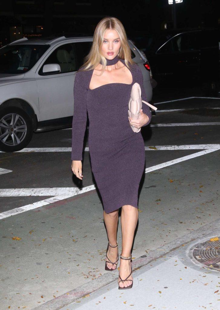 Rosie Huntington-Whiteley in a Purple Dress