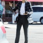Zendaya in a Plaid Blazer Out for a Business Meeting in Burbank