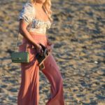 Amber Turner in a Pink Pants on the Beach in Marbella, Spain