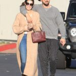 Ashley Greene in a Beige Cardigan Goes Grocery Shopping Out with Paul Khoury in West Hollywood