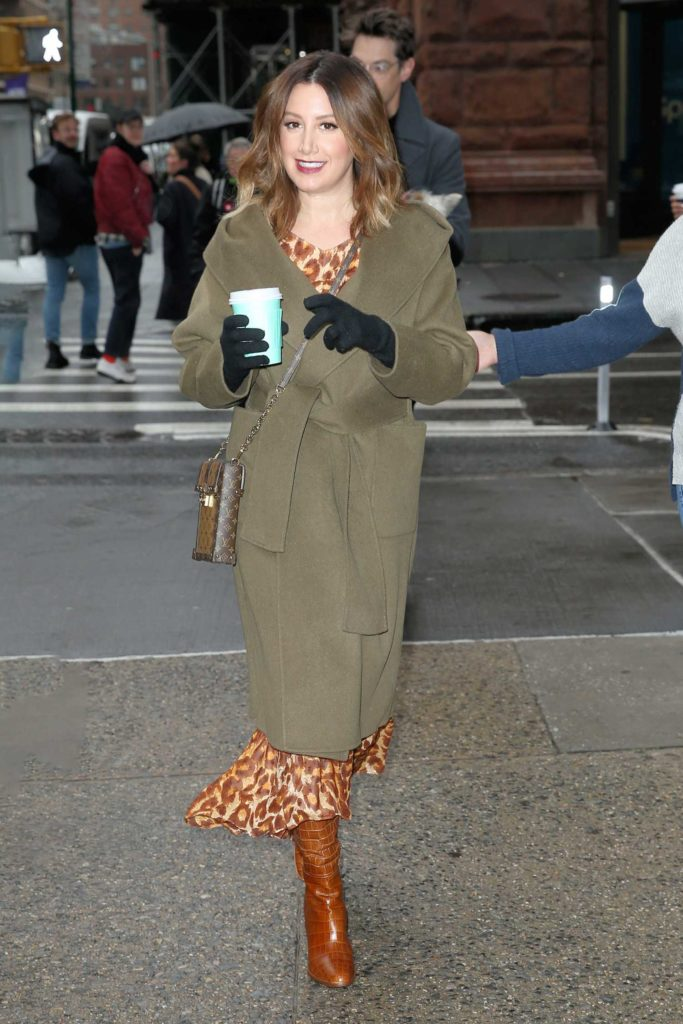 Ashley Tisdale in a Green Coat