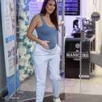 Chloe Goodman in Blue Tank Top Leaves Her Clinic Opiah Cosmetics in Hove
