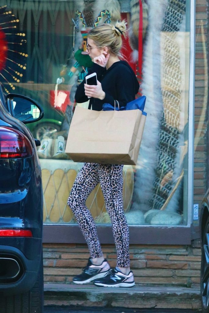 Emma Roberts in a Leopard Print Leggings