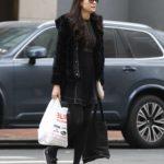 Famke Janssen in a Short Black Fur Coat Goes Shopping in NYC