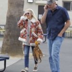 Gwen Stefani in a Floral Print Sheepskin Jacket Was Seen Out in LA